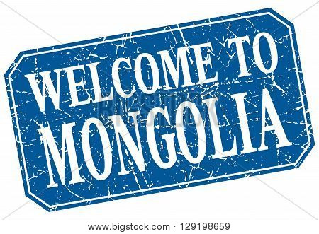 welcome to Mongolia blue square grunge stamp