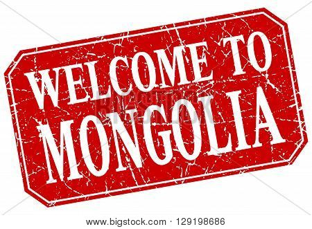welcome to Mongolia red square grunge stamp