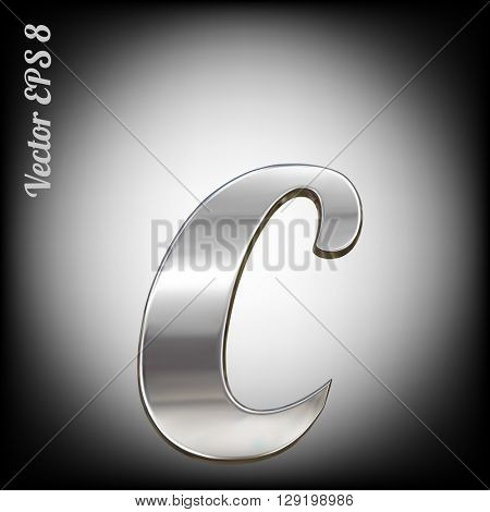 Vector letter c from metal alphabet. Lovercase metal font collection. EPS 8
