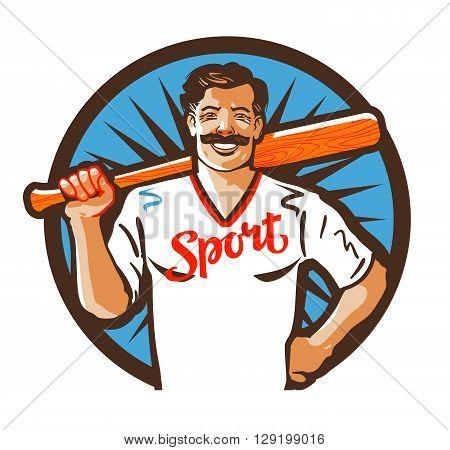 baseball vector logo. sport or player icon