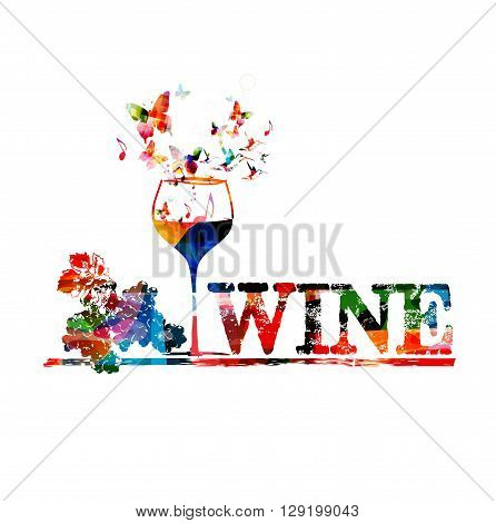 Vector illustration of colorful wine glass with butterflies