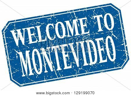 welcome to Montevideo blue square grunge stamp