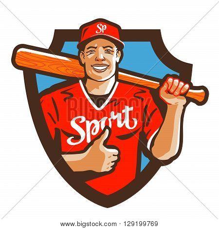 baseball player vector logo. sport or mascot icon