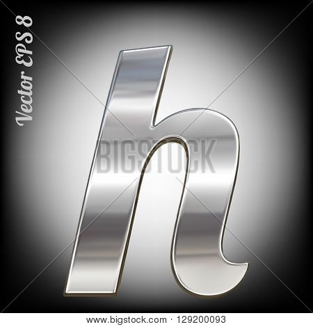 Vector letter h from metal alphabet. Lovercase metal font collection. EPS 8