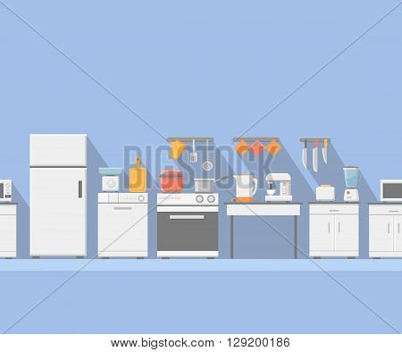 Flat kitchen with cooking tools, equipment and furniture. Refrigerator and microwave, toaster and cooker, blender seamless horizontal