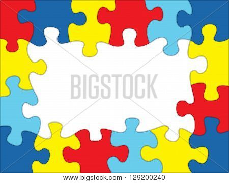 A frame made out of autism awareness colored puzzle pieces. Room for copy. Vector EPS 10 available.