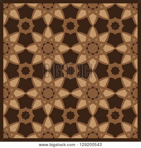 Arabesque Decorative Brown And Beige Wooden Tile Pattern
