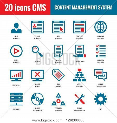 CMS - Content Management System - 20 vector icons. SEO - Search Engine Optimization vector icons. Website internet technology vector icons. Computer vector icons.