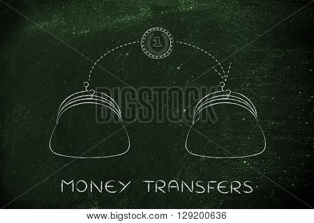 Coin Flying From One Purse To Another, Money Transfers