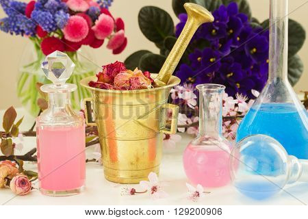 Dry flowers and vials  of tincture or oil, aromatherapy and herbal medicine concept