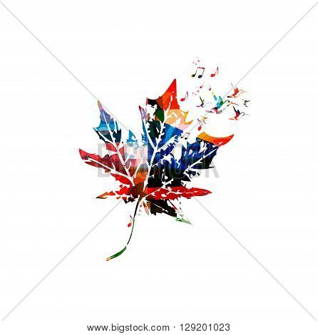 Vector illustration of colorful maple leaf with hummingbirds