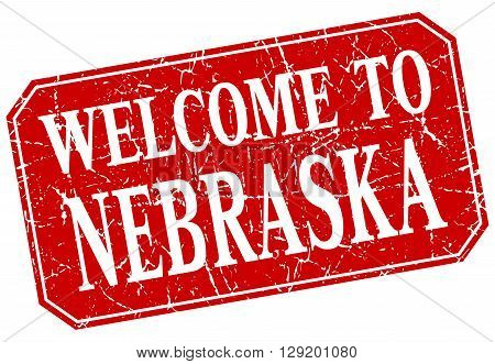welcome to Nebraska red square grunge stamp