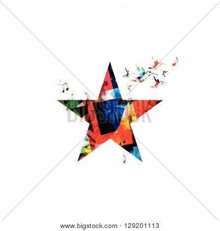 Vector illustration of colorful star shape with hummingbirds