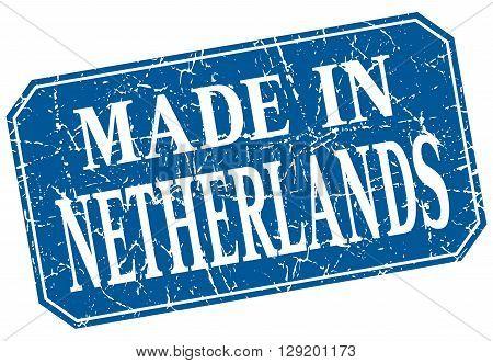 made in Netherlands blue square grunge stamp