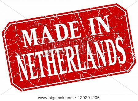 made in Netherlands red square grunge stamp