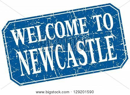 welcome to Newcastle blue square grunge stamp