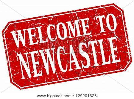 welcome to Newcastle red square grunge stamp