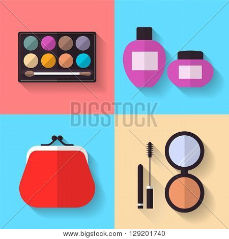 Cosmetic and Makeup Vector flat Icons Set. Cosmetic bag, mascara, eye shadows, powder. Beauty products.