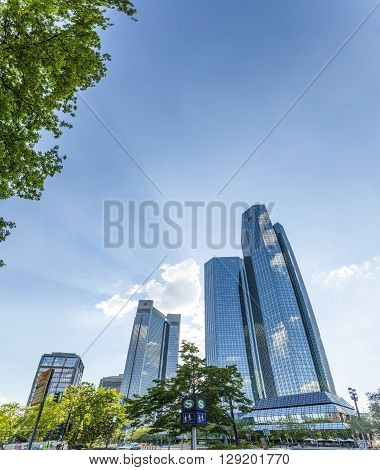 Bottom View Of 155 Meter High Deutsche Bank Twin Towers