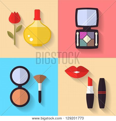 Cosmetic and Makeup Vector flat Icons Set. Perfume bottle, eye shadows, lipstick, powder, makeup brush. Beauty products.