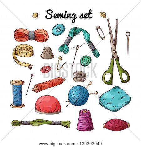Vector set with sewing equipment. Hand drawn tailor tools.