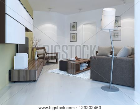 Small lounge in contemporary style. Comfortable room with unusual angles wall system white laminate flooring. 3D render