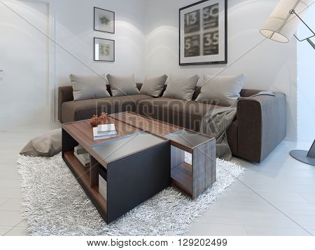 Design of contemporary living room. Nice-looking room in cosmic latte color with an unusual table in the middle. 3D render