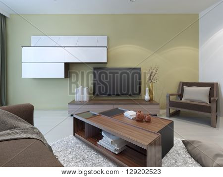 Spacious lounge room design. Light walls and floors dark furniture. Small parts which many do not attach importance play a crucial role. 3D render