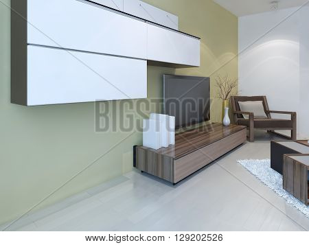 Idea of fusion living room. Wall panel system light laminale flooring and two colored walls light tan and white. 3D render