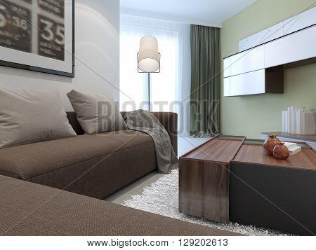 Fusion interior of living room. 3D render