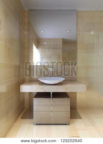 Contemporary style bathroom. Large mirror tiled walls flooring and countertop navajo white color. 3D render