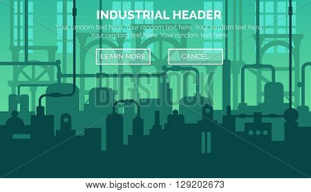 Abstract industrial manufacturing plant scene with ambient light, pipes and machinery. Web template for website header or decoration.
