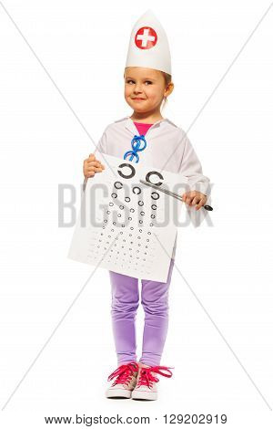 Young girl playing ophthalmologist with pointer and testing card, isolated on white