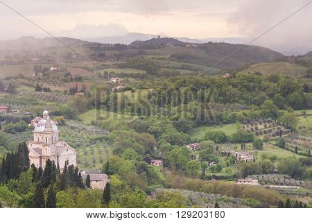 MONTEPULCIANO,ITALY-APRIL 23,2016:View of Saint Biagio church in MontepulcianoItaly during a cloudy day.