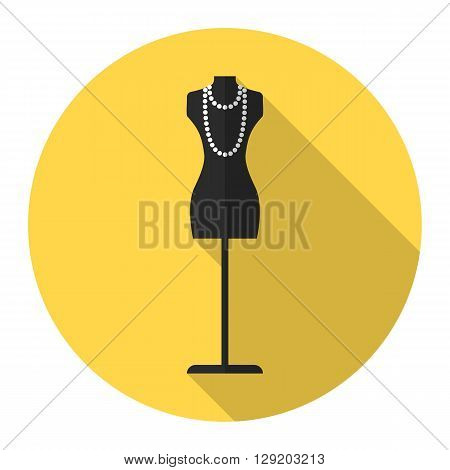 Tailor's mannequin vector flat icon with long shadow. Fashion mannequin icon.