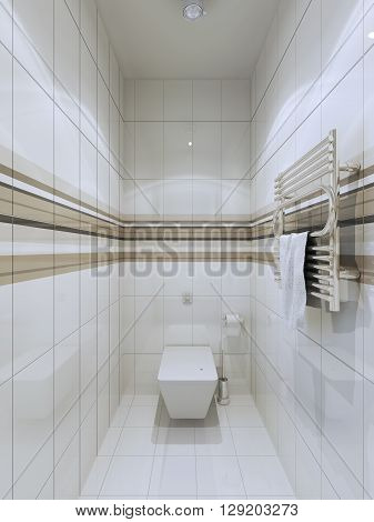 Modern wc trend. Despite the bright trim almost all surfaces of the room it looks bright and interesting. 3D render