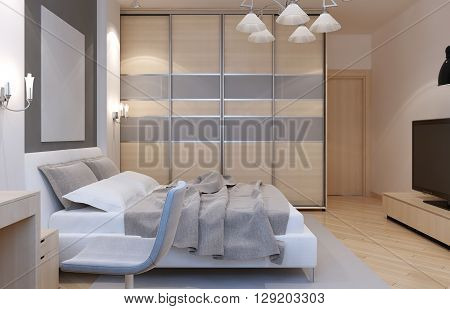 Master bedroom art deco style. Large closet with sliding doors white walls and light laminate. 3D render