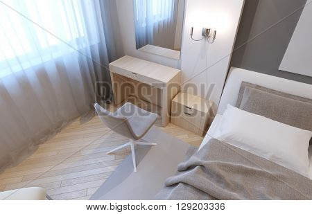 Dressing table in bedroom. Anrique white tables double sconce large mirror. 3D render