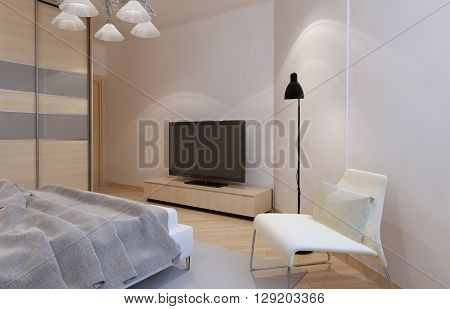 Bright bedroom interior with light bisque color furniture. 3D render