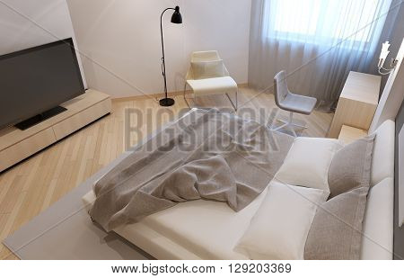 Unmade bed in avangard bedroom with white walls. 3D render
