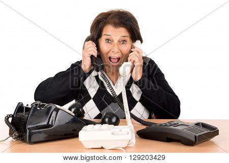 Senior Woman With Phones
