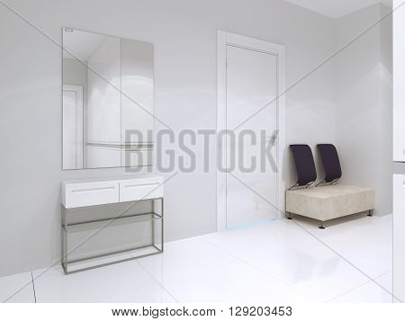 Idea of bright minimalist entrance for elegant home in white color. 3D render