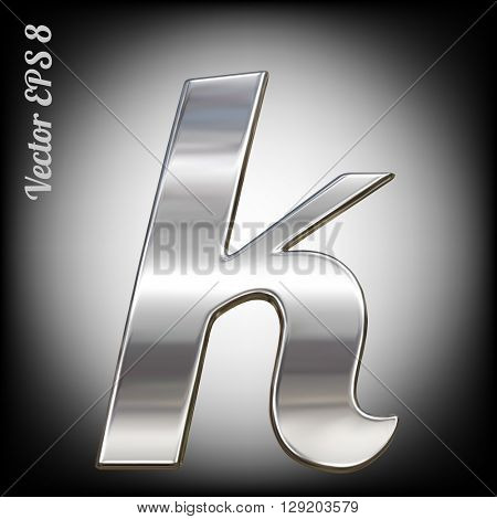 Vector letter k from metal alphabet. Lovercase metal font collection. EPS 8