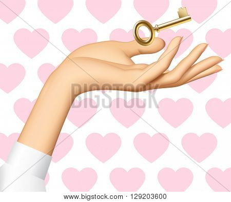 Woman's hand with a golden key isolated on white background with pink hearts. 3D illustration. Contain the Clipping Path