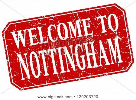 welcome to Nottingham red square grunge stamp