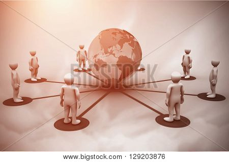 3D men connected with earth against blue sky
