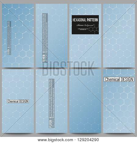 Set of modern vector flyers. Chemistry pattern, hexagonal design vector illustration