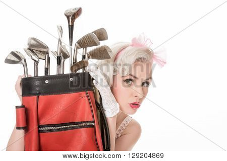 Cute Retro Girl Peeking Out From Behind Red Golf Bag, Isolated On White With Space For Text, Horizon