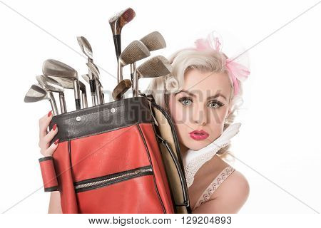 Unhappy Retro Girl Peeking Out From Behind Red Golf Bag, Isolated On White With Space For Text, Hori