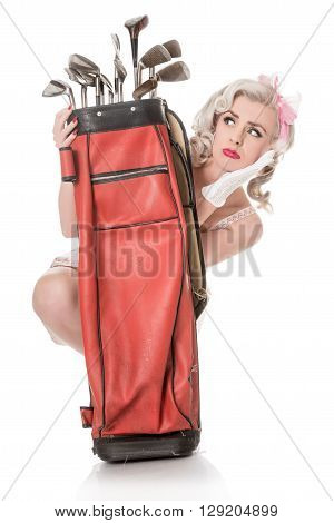 Unhappy Retro Girl Peeking Out From Behind Red Golf Bag, Isolated On White With Space For Text